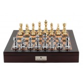 "Dal Rossi Italy Chess Box  Mahogany Finish 20"" with compartments Gold and Silver 101mm pieces"