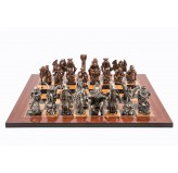 Dal Rossi Italy Good and Evil Chess Set on a Walnut Shiny Finish Chess Board 50cm