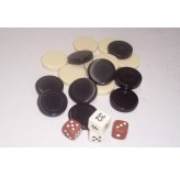 Backgammon - Backgammon pieces/dice, brown/ivory, 32mm Dice NOT inclued