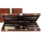 Backgammon, deluxe Brown Tan, case,  18""
