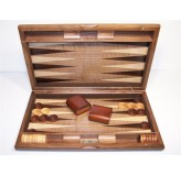 "Backgammon - Dal Rossi Italy Backgammon, walnut burl 15"" NEW"