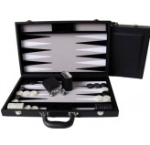 "Dal Rossi Black Backgammon 15"" PU Leather"