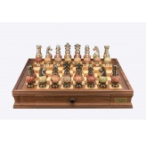 "Dal Rossi Italy Chess Set on a 20"" Walnut Board & Box with Coloured Stone and  Metal , Silver Chessmen"