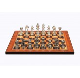 "Dal Rossi Italy Chess Set on a 16"" Board with Black Nickel & Silver Chessmen 80mm"