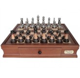 Dal Rossi Italy Staunton Metal/Marble Finish Chess Set with Drawers 16""