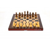 "Dal Rossi  Mahogany Finish Folding Chess Set, 16"" NEW"