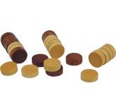 Checker Pieces - Wooden in a Poly Bag