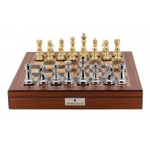 "Dal Rossi Italy Gold & Silver Chess Pieces on Walnut Finish Chess Box 20"" with compartments"