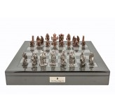 "Dal Rossi Italy Evil Ring Metal Chess Set on Carbon Fibre Shiny Finish Chess Box 20"" with compartments"