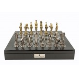 "Dal Rossi Italy Renaissance Chess Set on Carbon Fibre Shiny Finish Chess Box 20"" with compartments"