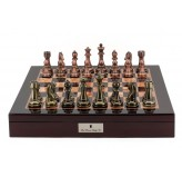 "Dal Rossi Italy Chess Box  Mahogany Finish 20"" with compartments Bronze & Copper 101mm pieces"