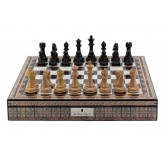 "Dal Rossi Italy Chess Box Mosaic  Finish 20"" with compartments with Dark Cherry and Box Wood Finish 101mm Chess pieces"