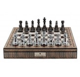 "Dal Rossi Italy Chess Box Mosaic  Finish 20"" with compartments with Silver & Titanium Finish 101mm Chess pieces"