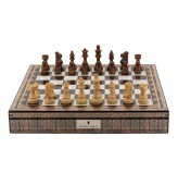 "Dal Rossi Italy Chess Box Mosaic  Finish 20"" with compartments with Staunton Wooden 95mm Double weighted Chess pieces"