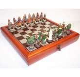"""Hand Paint Chess Set - """"Robin Hood"""" Theme with 75mm pieces, 45cm Chess Set Board + Storage Box"""