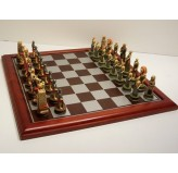 """Hand Paint Chess Set - """"Crusaders"""" Theme with 75mm pieces, 45cm With Board"""