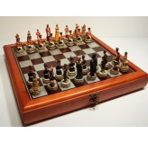 """Hand Paint Chess Set - """"Battle of Waterloo"""" Theme with 75mm pieces, 45cm Chess Set Board + Storage Box"""