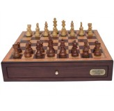 "Dal Rossi Italy, Chess Box with Drawers 18"" (Walnut Finish) with 85mm Wooden Double Weighted Sheesham Pieces"