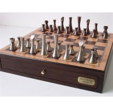 "Dal Rossi Italy, Contemporary Chess with drawers 18"" (Walnut Finish) with Contemporary Pewter Chess Pieces"