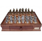 Dal Rossi Italy, Mystical Dragon Chess Set, Pewter, 95mm on Dal Rossi 40cm Chess Box