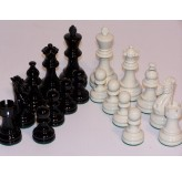 Chess Pieces - Classic Jaques Boxwood Black & White 85mm Wood Double Weighted