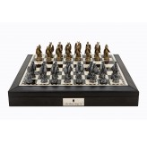 "Dal Rossi Italy Black PU Leather Bevilled Edge chess box with compartments 18"" with Dragon Pewter Chessmen"