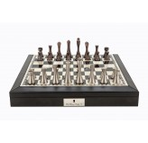 "Dal Rossi Italy Black PU Leather Bevilled Edge chess box with compartments 18"" with Contemporary Metal Chessmen"