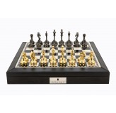 "Dal Rossi Italy Black PU Leather Bevilled Edge chess box with compartments 18"" with Staunton Brass Titanium Cap Chessmen"