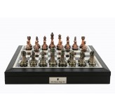 "Dal Rossi Italy Black PU Leather Bevelled Edge chess box with compartments 18"" with Antique Green and Copper Finish Chessmen"