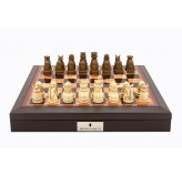 "Dal Rossi Italy Brown PU Leather Bevilled Edge chess box with compartments 18"" with Medieval Resin Chessmen"