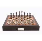 "Dal Rossi Italy Brown PU Leather Bevilled Edge chess box with compartments 18"" with Contemporary Metal Chessmen"