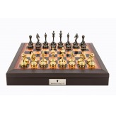 "Dal Rossi Italy Brown PU Leather Bevilled Edge chess box with compartments 18"" with Staunton Brass Titanium Cap Chessmen"