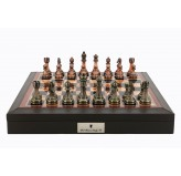 "Dal Rossi 16"" Brown with PU Leather Edge with compartments with Antique Green and Copper Finish Chessmen"