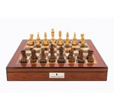 "Dal Rossi Italy Staunton Wooden 95mm Chess Pieces on Walnut Shiny Finish Chess Box 20"" with compartments"