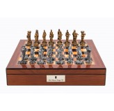 "Dal Rossi Italy Walnut Finish chess box with lock & compartments 16"" with Medieval Pewter Chessmen"
