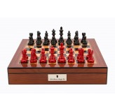 "Dal Rossi Italy Walnut Finish chess box with lock & compartments 16"" with French Lardy Black/Red 85mm Chessmen"