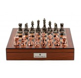 "Dal Rossi Chess Set With Diamond-Cut Copper & Bronze 85mm Chessmen on Walnut Finish Chess Box 16"" with compartments"