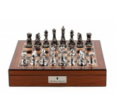 "Dal Rossi Chess Set With Diamond-Cut Titanium & Silver 85mm Chessmen on Walnut Finish Chess Box 16"" with compartments"