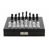 "Dal Rossi Italy Chess Set with Diamond-Cut Black & White 85mm chessmen on a Carbon Fibre Shiny Finish Chess Box 16"" with compartments"
