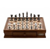 "Dal Rossi Italy Chess Set with  Diamond-Cut Titanium & Silver 85mm chessmen on a Walnut Finish Chess Box 16"" with drawers"