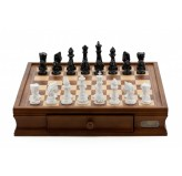 "Dal Rossi Italy Chess Set with Diamond-Cut Black & White 85mm chessmen on a Walnut Finish Chess Box 16"" with drawers"