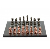 Dal Rossi Italy Chess Set with  Diamond-Cut Copper & Bronze 85mm chessmen on a Carbon Fibre Shiny Finish Chess Board16""