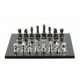Dal Rossi Italy Chess Set with Diamond-Cut Titanium & Silver 85mm chessmen on a Carbon Fibre Shiny Finish Chess Board16""