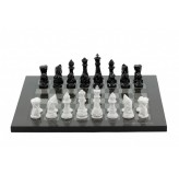 Dal Rossi Italy Chess Set with Diamond-Cut Black & White 85mm chessmen on a Carbon Fibre Shiny Finish Chess Board16""
