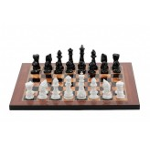 Dal Rossi Italy Chess Set with Diamond-Cut Black & White 85mm chessmen on a Walnut Shinny Finish Chess Board 16""