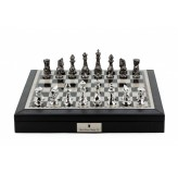 "Dal Rossi Italy Black PU Leather Bevelled Edge chess box with compartments 18"" with Diamond-Cut Titanium & Silver Finish Chessmen"