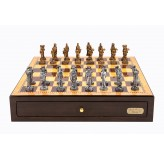 "Dal Rossi Italy Walnut Finish chess box with compartments 18"" with Medieval Pewter Chessmen"