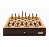"Dal Rossi Italy Walnut Finish chess box with compartments 18"" with Staunton Metal/Wood Finish Chessmen"