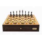 "Dal Rossi Italy Walnut Finish chess box with compartments 18"" with Staunton Brass Titanium Cap Chessmen"
