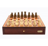 "Dal Rossi Italy Red Mahogany Finish chess box with compartments 18"" with Medieval Resin Chessmen"